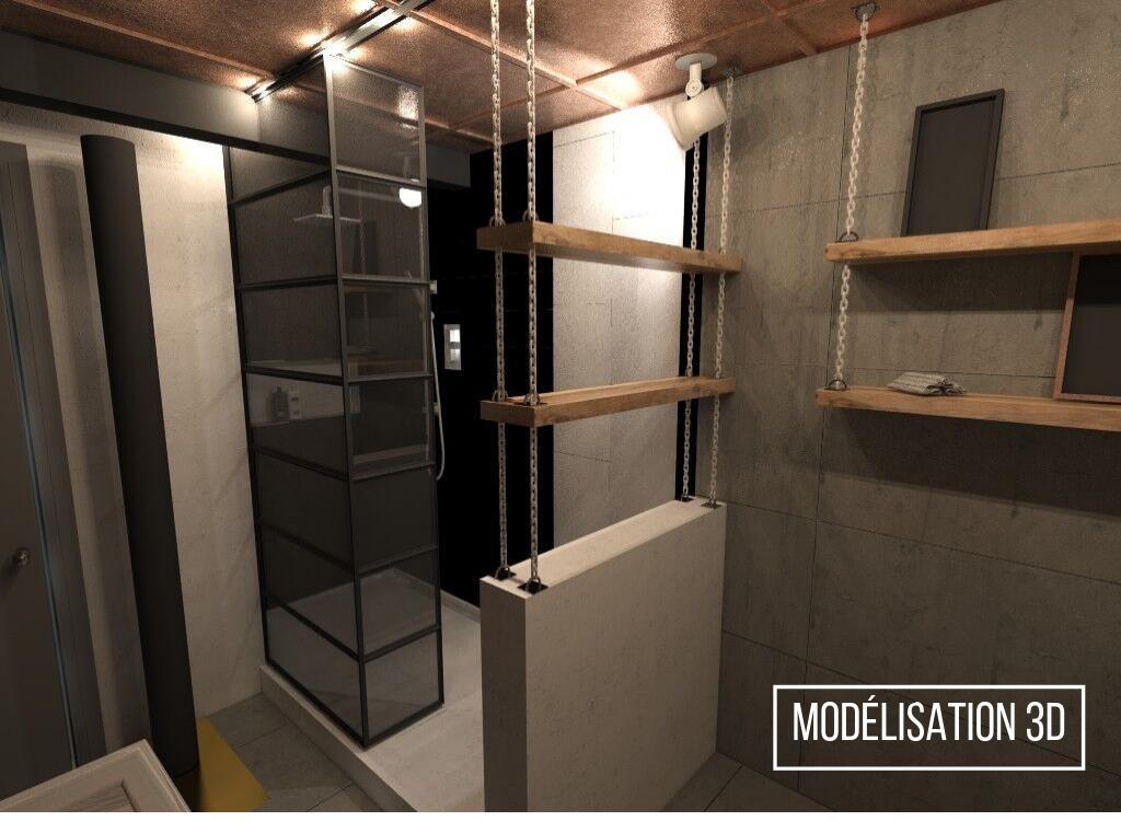 Réalisation résidentielle modélisation 3D L'unique salle d'eau douche ETC 2018