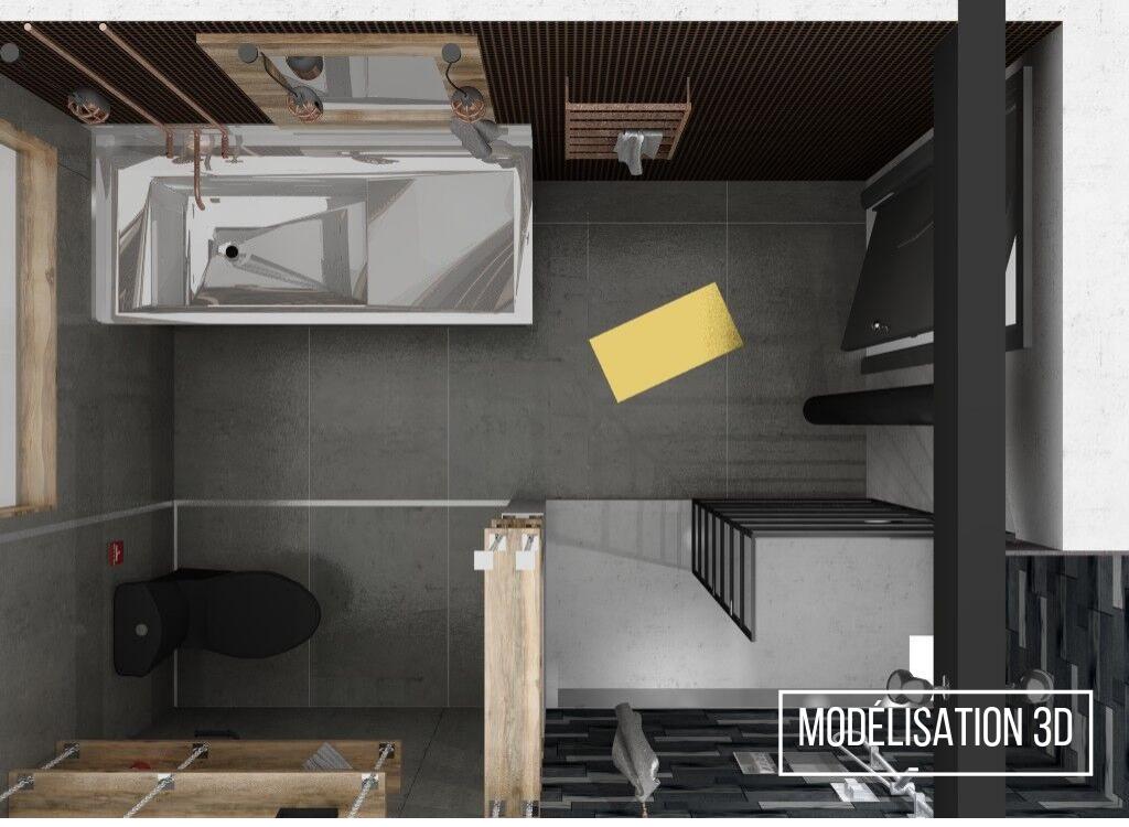 Réalisation résidentielle modélisation 3D L'unique salle d'eau plan ETC 2018
