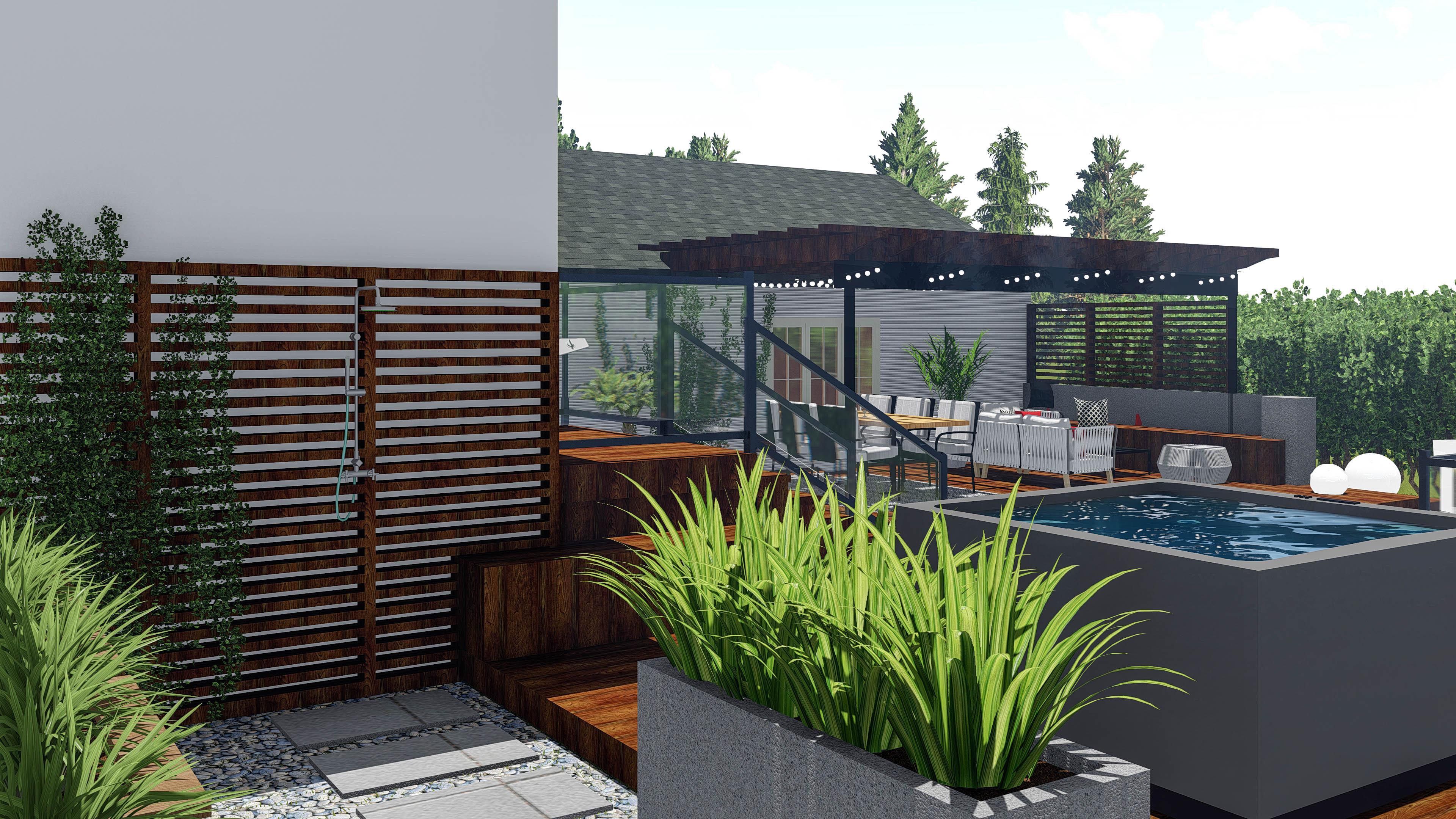 Réalisation La belle saison douche design extérieur Struktura 2021