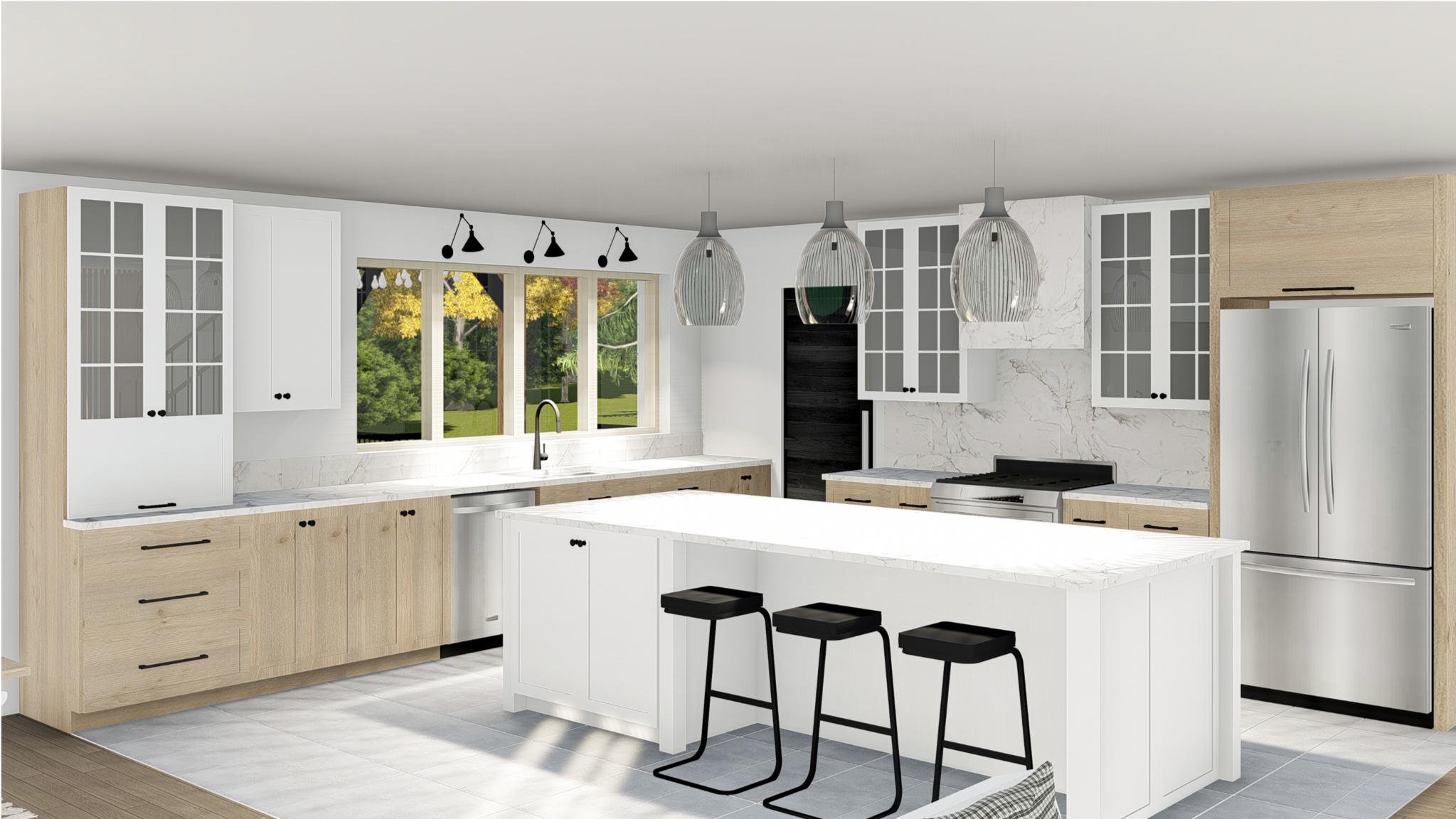Réalisation Le cottage cuisine -modélisation 3D Struktura
